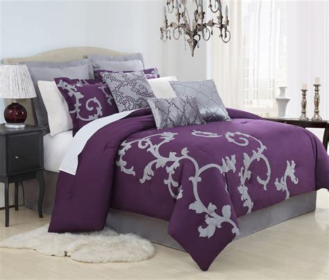 queen bed in a bag sets 13 piece duchess plum and gray bed in a bag set