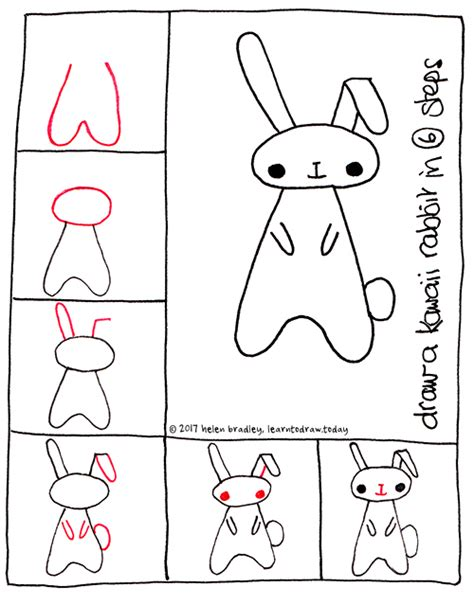 learn to draw doodle learn to draw a kawaii bunny in 6 steps learn to draw