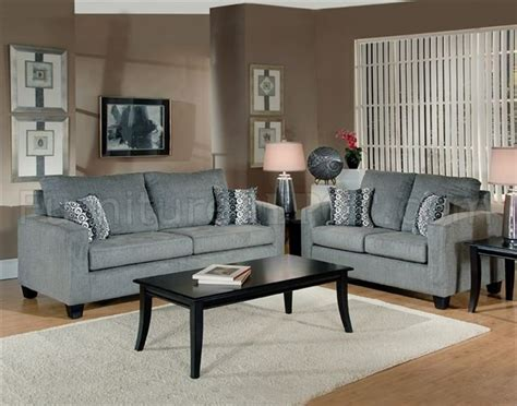 Living Room With Gray Sofa Grey Fabric Modern Living Room Sofa Loveseat Set