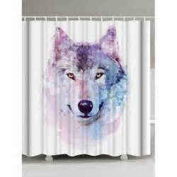wolf shower curtain watercolor wolf bathroom decor shower curtain in white
