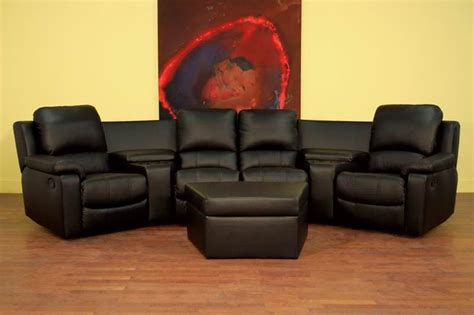 Boden 7 Piece Black Leather Theater Seating Sectional By Leather Theater Sofa