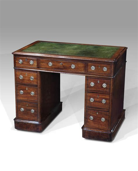 Small pedestal desk, antique desk, leather top desk