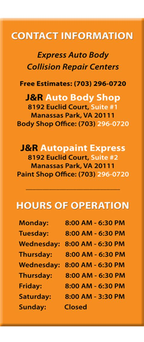 hours of operation express auto collision repair centers