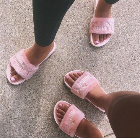 Sandal Fur Slide Fenty Rihana Pink fenty by rihanna leadcat fenty faux fur slide quot pink quot