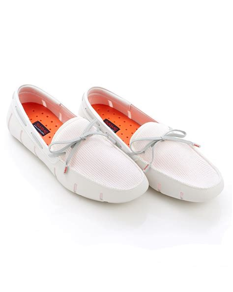 swims shoes swims mens lace front white grey loafer shoes
