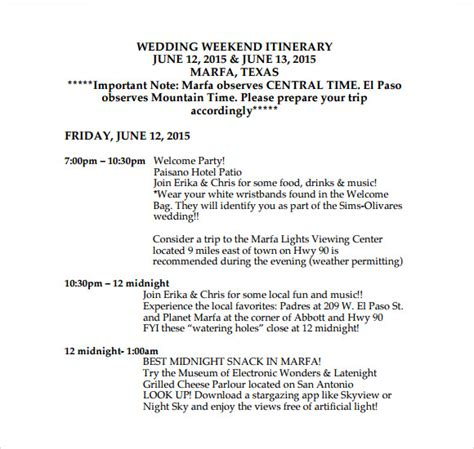 sample wedding weekend itinerary templates sample
