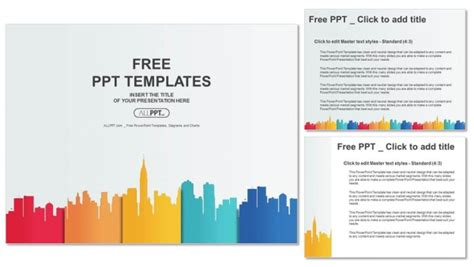 City Buildings Silhouettes And Colors Powerpoint Templates Powerpoint Color Templates