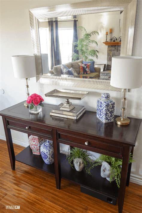 simple entryway table decor  mirror momma