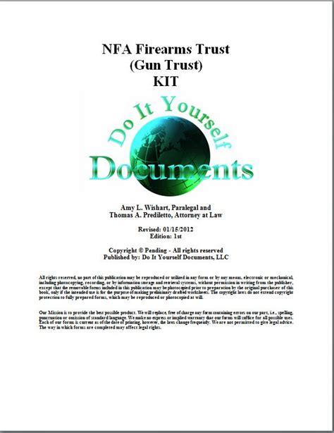 Do It Yourself Documents Diyd Nfa Firearms Trust Gun Trust Declaration Of Land Patent Template