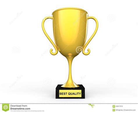 3d best quality award trophy stock illustration image