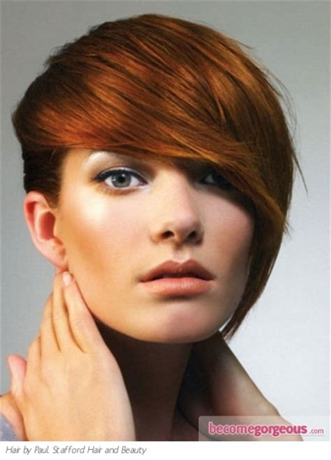become gorgeous short hair gallery pictures pictures short hairstyles long bangs red hair style