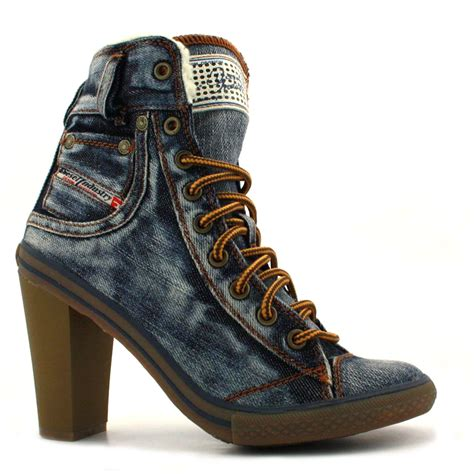 diesel exposition womens hi heel denim shoes indigo ebay