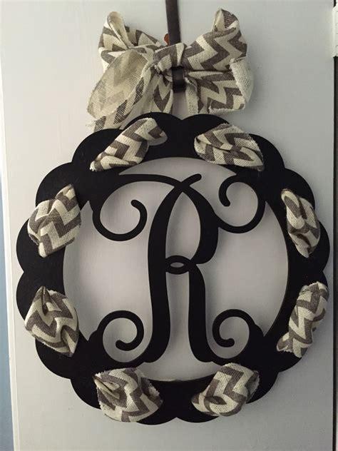 Initial Door Hangers by Single Initial Wooden Monogram Door Hanger With Chevron Ribbon