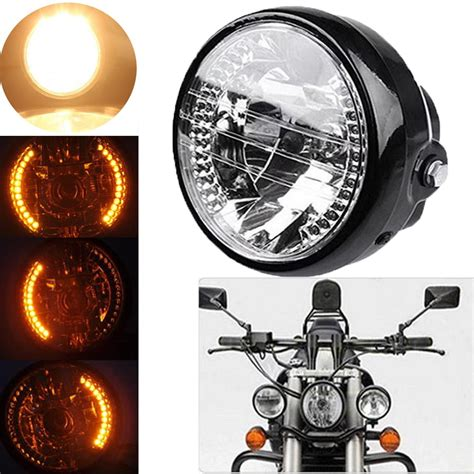 motorcycle turn signal lights universal fit 6 5 quot h4 motorcycle sportbike headlight led
