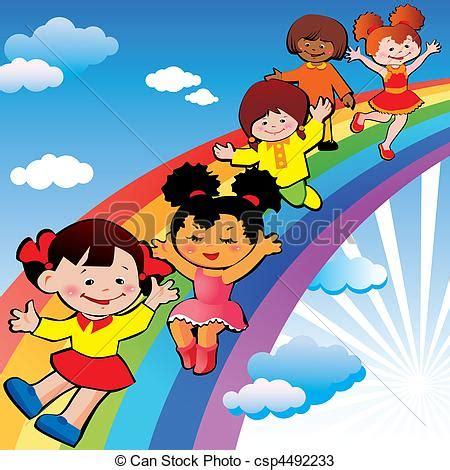 clipart per bambini vettori di arcobaleno diapositiva bambini bambini su