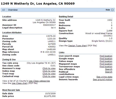 County Property Records Los Angeles Property Records Propertyshark