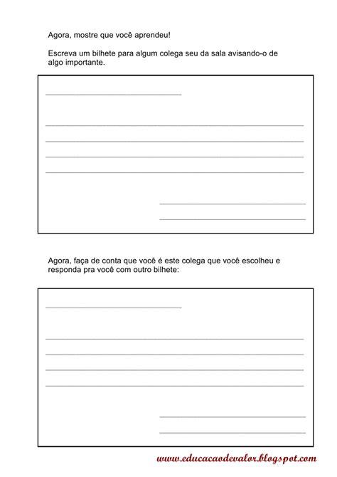 atividade sobre carta formal e informal educa 231 227 o de valor atividade de produ 231 227 o de texto carta e bilhete