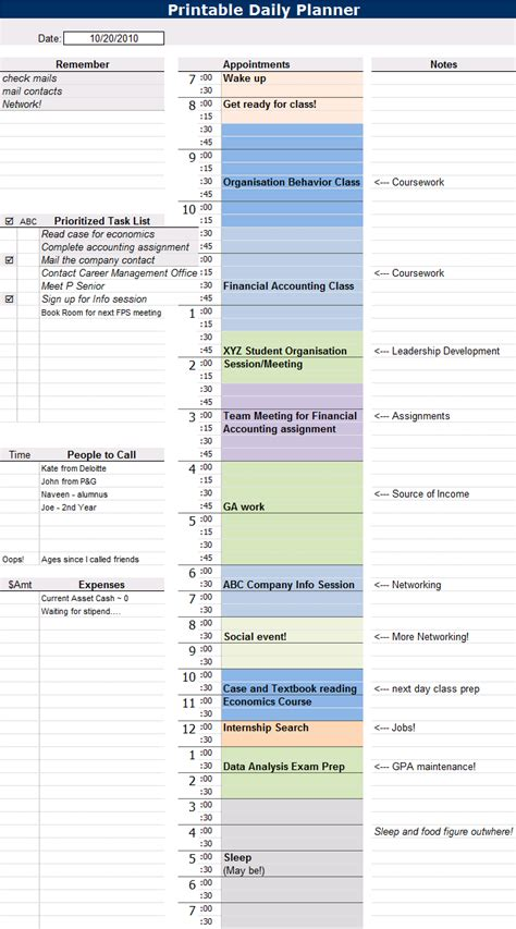 recruiter daily planner template typical day of a 1st yr mba student my fisher grad