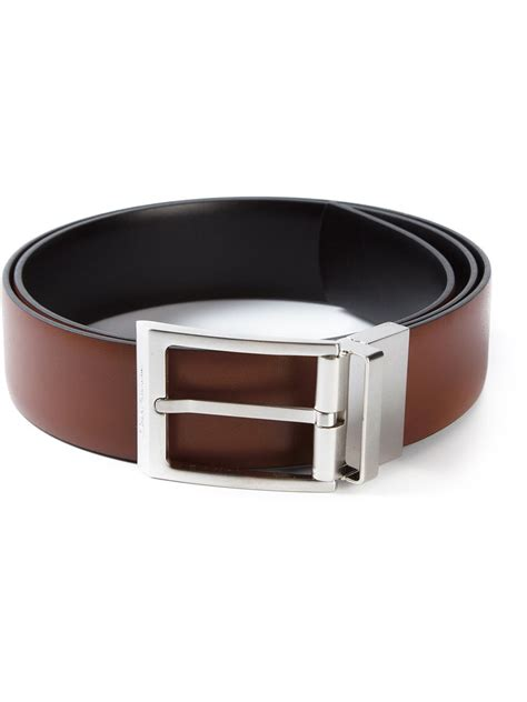 ferragamo square buckle belt in brown for lyst