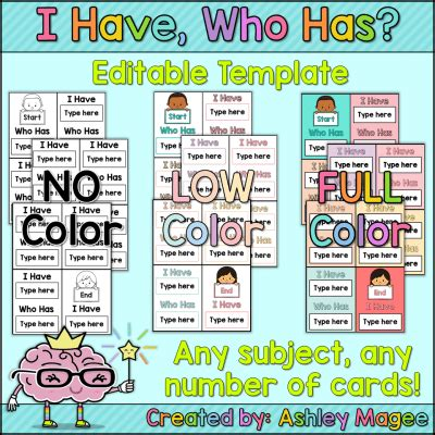 i who has cards template i who has cards