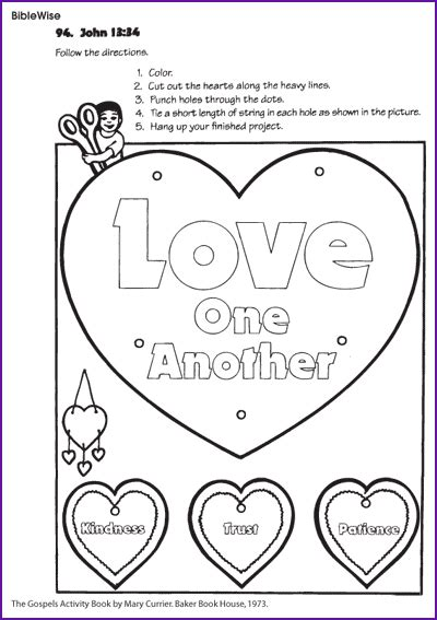 sunday school coloring pages on love love one another free download from biblewise kids