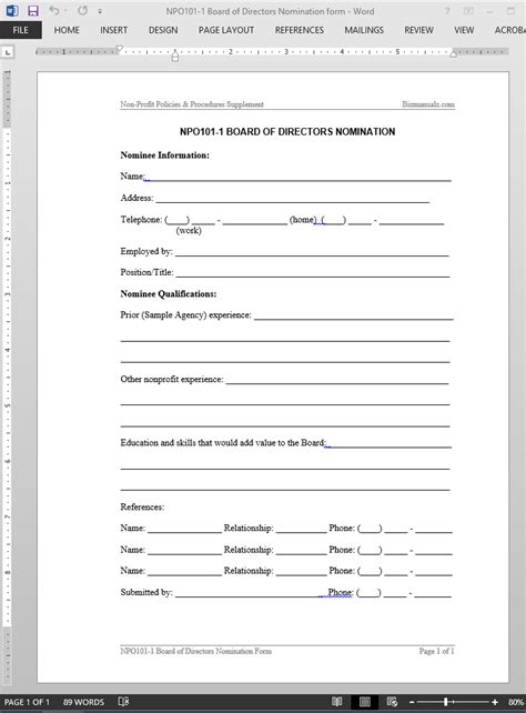 Board Of Directors Nomination Template Nomination Form Template