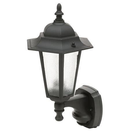 Outdoor Motion Sensor Coach Lights Cci 18 In Black Motion Activated Outdoor Die Cast Coach Lantern L2570blk The Home Depot