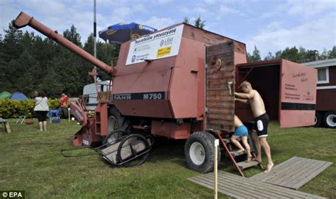 lada wood portatile combined harvester cars and converted into saunas on