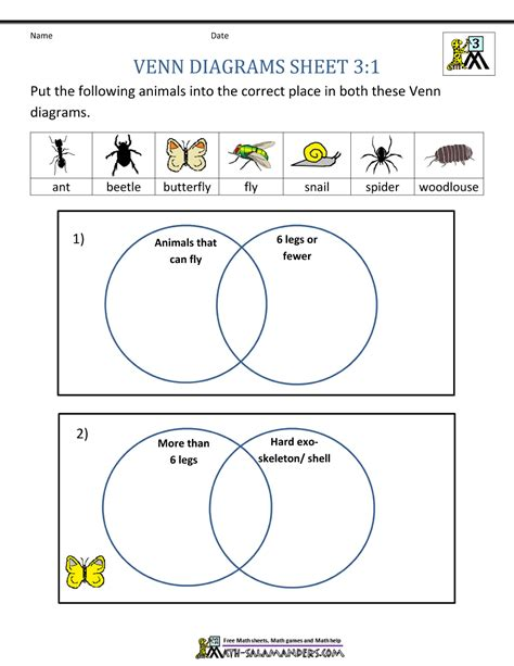 venn diagrams worksheet venn diagram worksheets 3rd grade