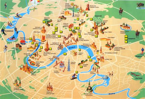 city map with attractions map of moscow tourist attractions sightseeing tourist tour
