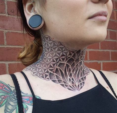 dotwork tattoo artists 14 gorgeous geometric dotwork neck tattoos tattoodo