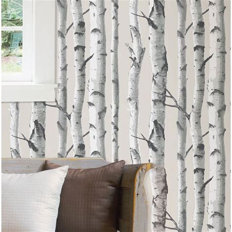 peel n stick wallpaper nuwallpaper birch tree peel stick wallpaper grey nu1650