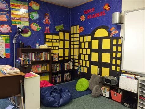 reading class themes my beautiful reading corner superheroes fifthgradefun