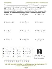 writing equations slope intercept form worksheet pichaglobal