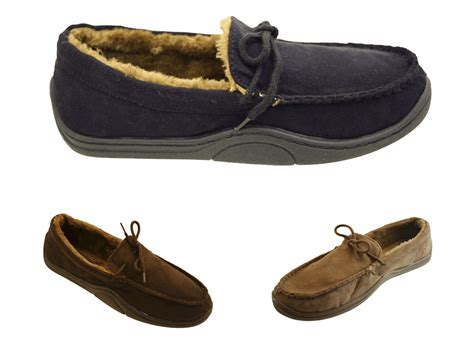 mens fur lined moccasin slippers mens fur lined moccasin moccs faux suede gents