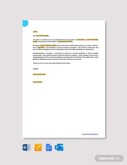 resignation letter due health stress template