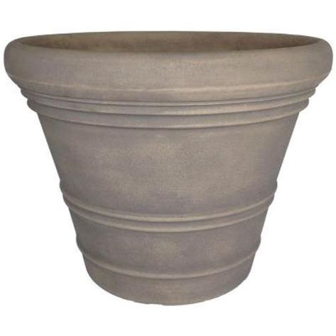 planters home depot planters 18 in dove gray resin ancona planter an18delg the home depot