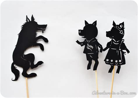 shadow puppets templates three pig shadow puppet printables adventure in a box