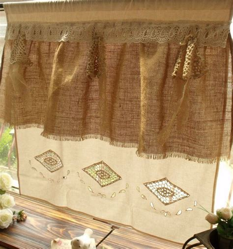 Burlap Cafe Curtains Shabby Cottage Chic Rustic Burlap Window Cafe Curtain Crochet Ru