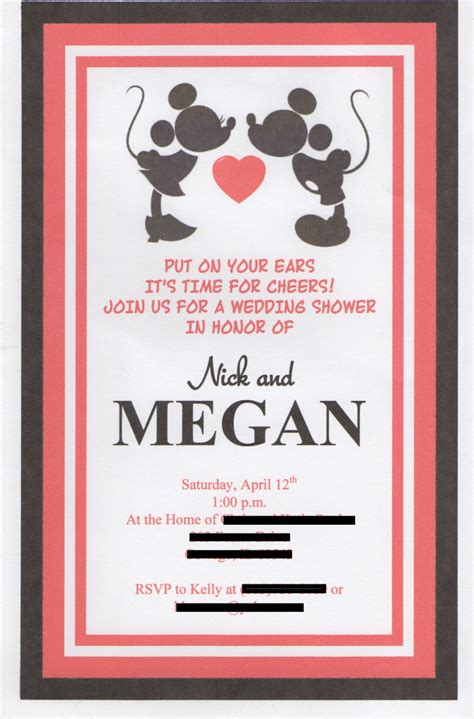 disney themed wedding shower invitation set of 15