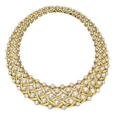 chanel pearl gold collar necklace at 1stdibs