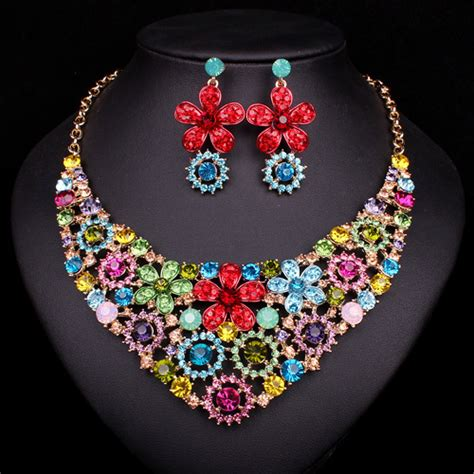colorful jewelry colorful flower pendant necklace earrings bridal jewelry