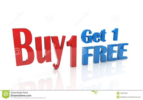 buy one 3d buy 1 get 1 free stock illustration image of service