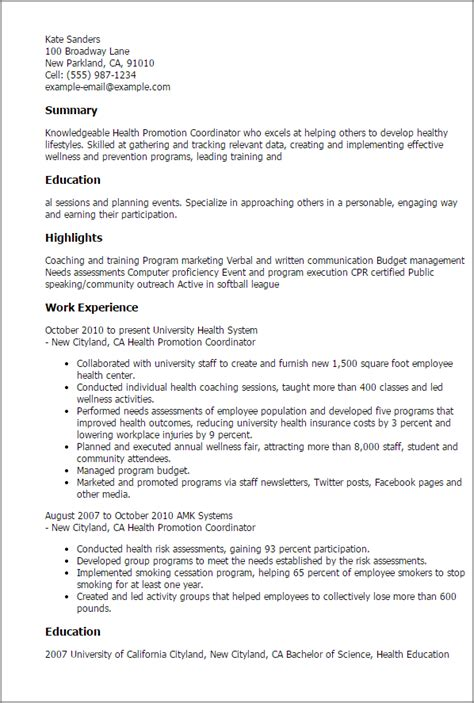 1 health promotion coordinator resume templates try them