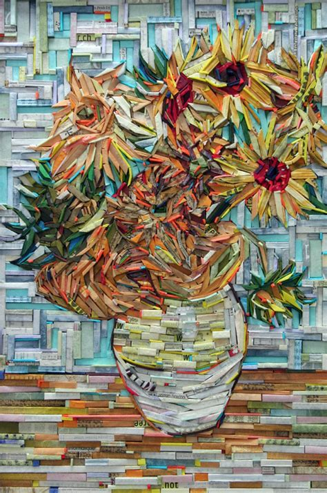 Famous Paintings Of Flowers In Vases Famous Paintings Recreated Using Wood Wrapped In Colorful