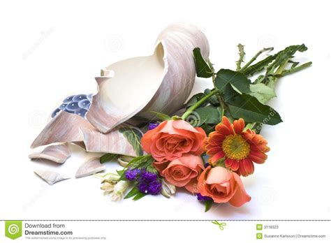 White Lily Vase Flowers With Broken Vase Stock Photos Image 3118323