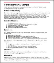 car salesman resume sles car salesman cv sle myperfectcv