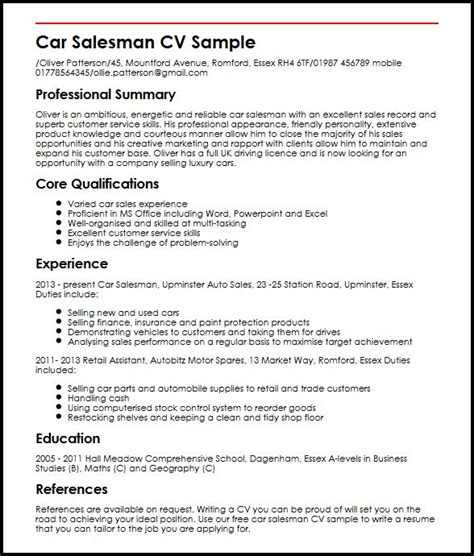 salesman resume exles car salesman cv sle myperfectcv