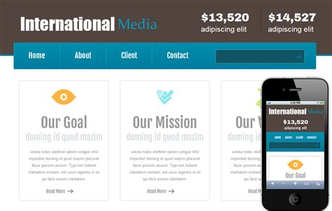 free mobile site templates new international media web and mobile website template
