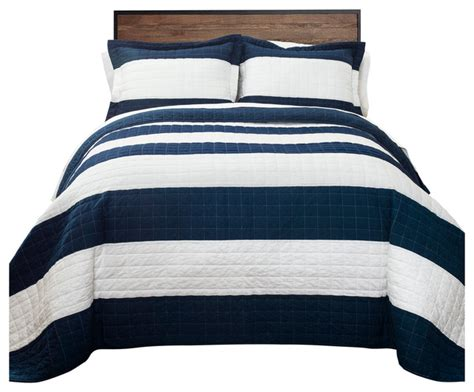 Navy Striped Quilt by Lush Decor Navy And White Stripe Quilt Set 3 Set